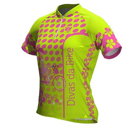 Camisa De Ciclismo Feminina Divas Da Bike Neon