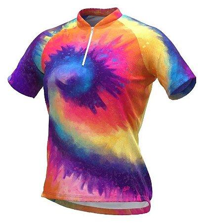 Camisa De Ciclismo Feminina Espiral Tie Dye