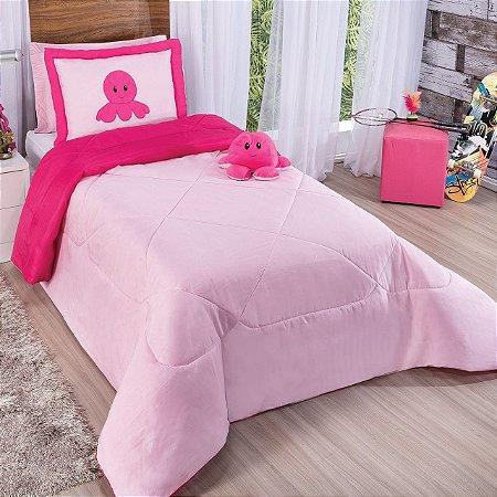 Kit Cobre Leito Edredom Solteiro Humor Dupla Face Rosa e Pink