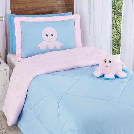 Kit Cobre Leito Edredom Solteiro Humor Dupla Face Azul Bebê e Rosa