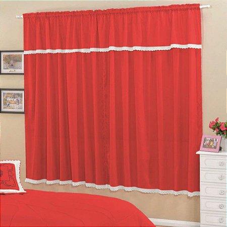Cortina Esplendore 2,00x1,70m Sala e Quarto Varão Simples - Vermelho