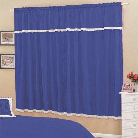 Cortina Esplendore 2,00x1,70m Sala e Quarto Varão Simples - Azul