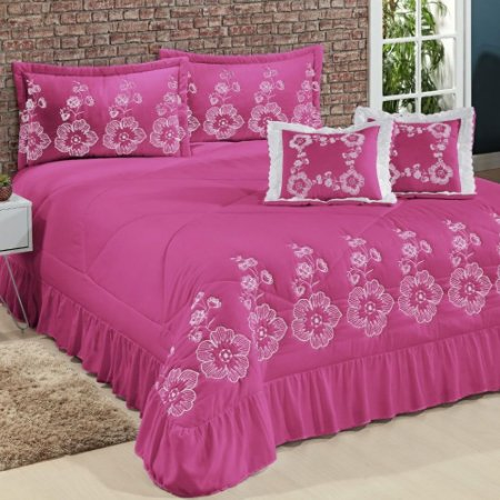 Kit Cobre Leito Casal Queen Amore 07 Peças Bordadas - Pink