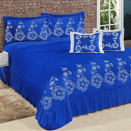 Kit Cobre Leito Casal Queen Amore 07 Peças Bordadas - Azul