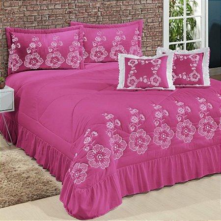 Kit Cobre Leito Casal King Amore 07 Peças Bordadas - Pink