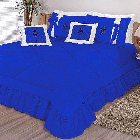 Kit Cobre Leito Casal Super King Esplendore Bordado 7 Peças - Azul