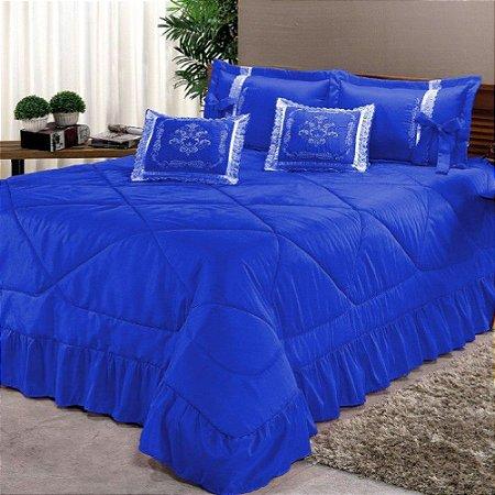 Kit Cobre Leito Casal Super King Portinari 7 Peças Bordada - Azul
