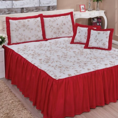 Colcha Bordada Casal Queen Encantus 07 Peças - Vermelho