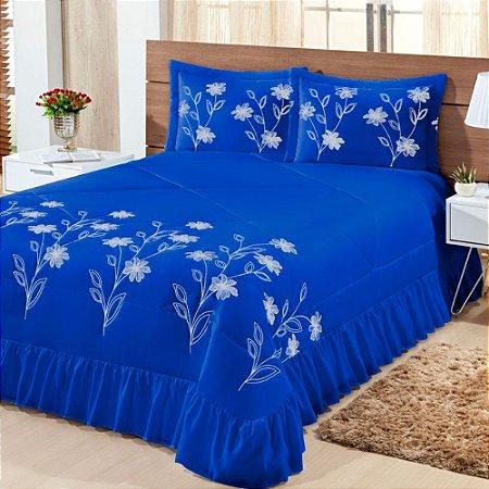 Kit Cobre Leito Casal King Lírio 03 Peças - Azul