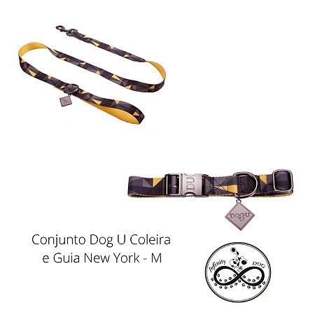 Conjunto Dog U Coleira e Guia New York -M