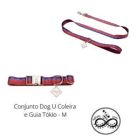 Conjunto Dog U de Coleira e Guia Tokio M