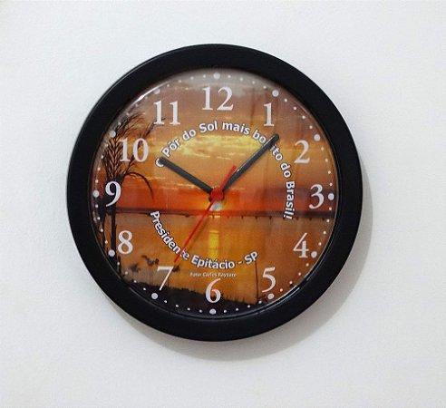 Relógio de Parede Redondo Borda Fina - Pôr do Sol