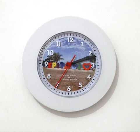 Relógio de Parede Redondo Borda Larga - Letreiro