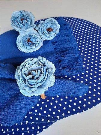 Porta Guardanapo Flor Azul