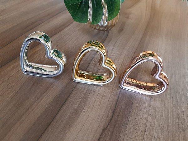 Porta Guardanapo Coração Metalizado