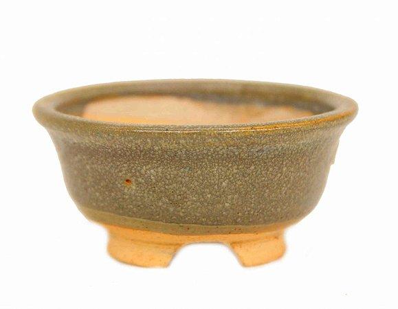 Vaso Redondo Esmaltado para Mame e Kusamono Sami Kozan 9 X 4 cm