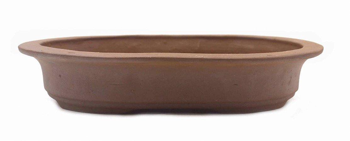 Vaso Oval Terracota Jorge Ribas com Acabamento 29,5 x 22,5 x 5,5 cm