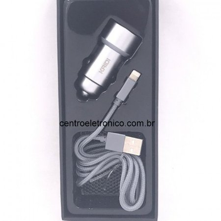 Adap(g)acende 2usb+cabo Iphone5 3,6amp