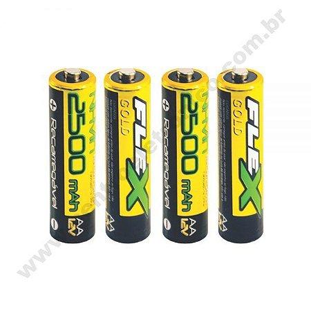 Bateria 1,2v Aax4 2500mah Nimh Flexgold