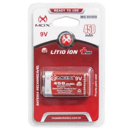 BATERIA 9V RECARR LITHIUM-ION 450MAH MOX