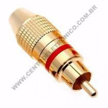 PLUGUE RCA OURO S/MOLA VERMEL 6MM