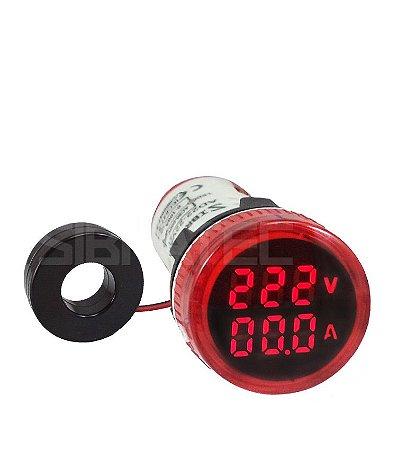 Voltímetro / Amperímetro Digital 22mm AD22-22VAM-Y 60-500Vca / 0-100A