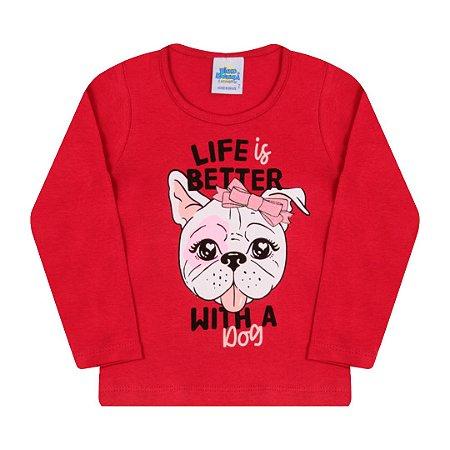 Blusa vermelha em cotton estampada com detalhes em glitter