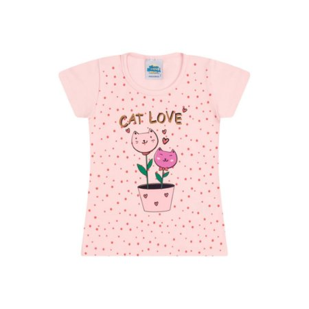 Blusa em cotton cor rosa bebê com glitter na estampa cat love