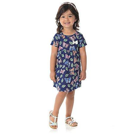 Vestido em meia malha cor marinho com laço estampa de borboletas