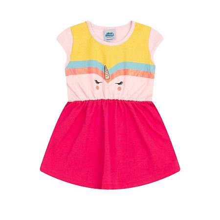 Vestido cotton cor rosa bebê e pink estampa unicórnio com aplique