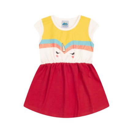 Vestido cotton cor cru e vermelho escarlate estampa com aplique.