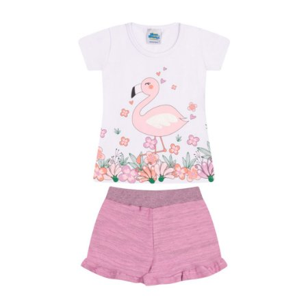 Conjunto cores branco e babaloo estampa e flamingo com aplique