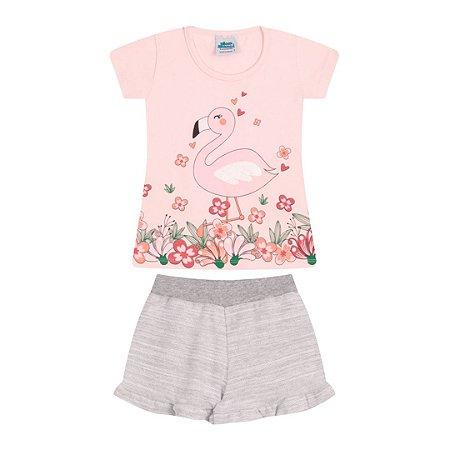 Conjunto cores rosa bebê e mescla estampa de flamingo com aplique