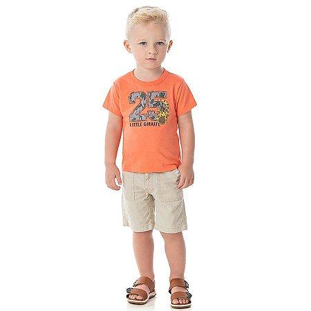Camisa em meia malha cor tangerine com puff na estampa de girafa