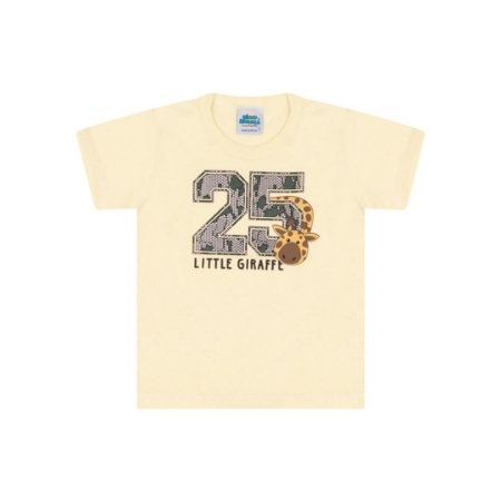 Camisa meia malha cor amarelo claro com puff na estampa de girafa