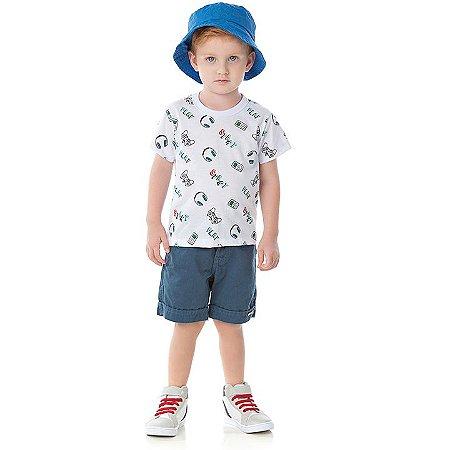 Camisa em meia malha cor branco estampa game