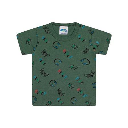 Camisa em meia malha cor verde floresta estampa game