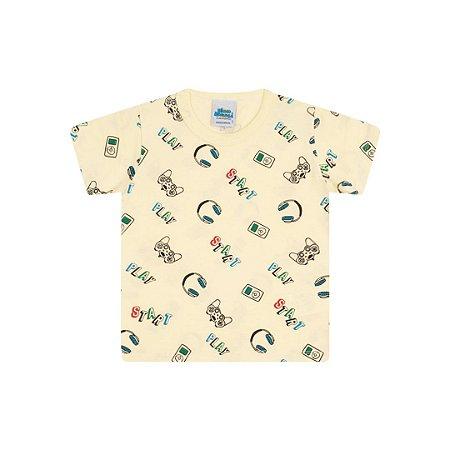 Camisa em meia malha cor amarelo claro estampa game