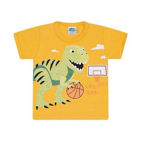 Camisa em meia malha cor amarelo pastel com puff na estampa dino