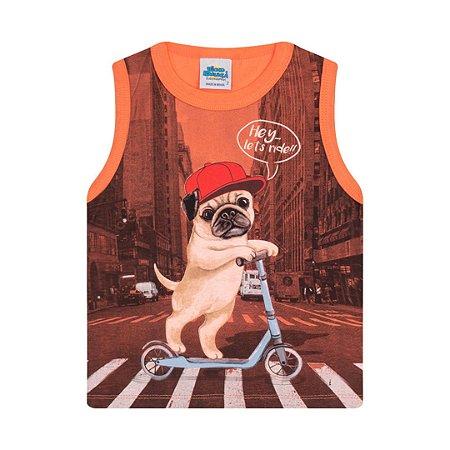 Regata em meia malha cor tangerine com puff na estampa de cachorro