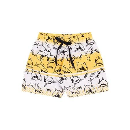 Bermuda tactel com cordão cor amarelo estampada com  tubarões