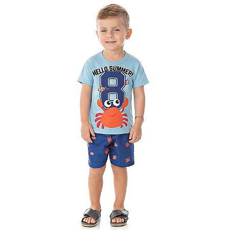 Conjunto meia malha e tactel cor azul bebê e marinho com estampa