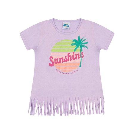 Blusa em meia malha cor lavanda com glitter na estampa  de verão