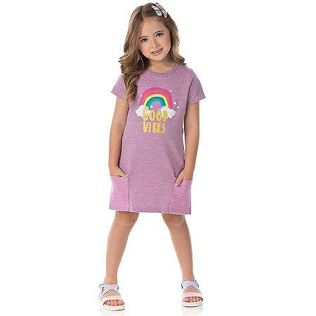 Vestido moletinho flamê cor babaloo com bolso e estampa arco-íris