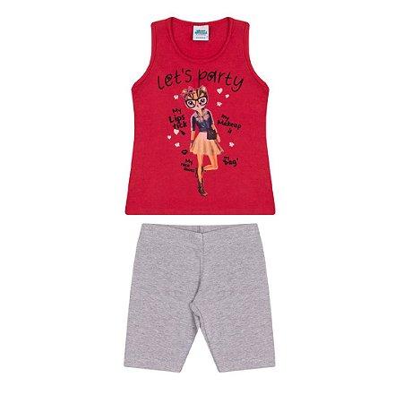 Conjunto em cotton cor vermelho escarlate  e mescla
