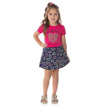 Conjunto cotton cor pink e marinho com strass e shorts saia