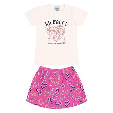 Conjunto cotton cor cru e chiclete com strass e shorts saia