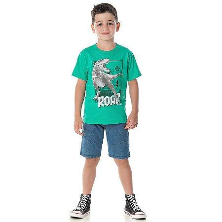 Camisa em meia malha cor verde marine com puff