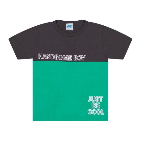 Camisa em meia malha cor chumbo e verde marine
