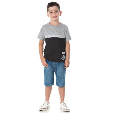 Camisa em meia malha cor mescla e preto